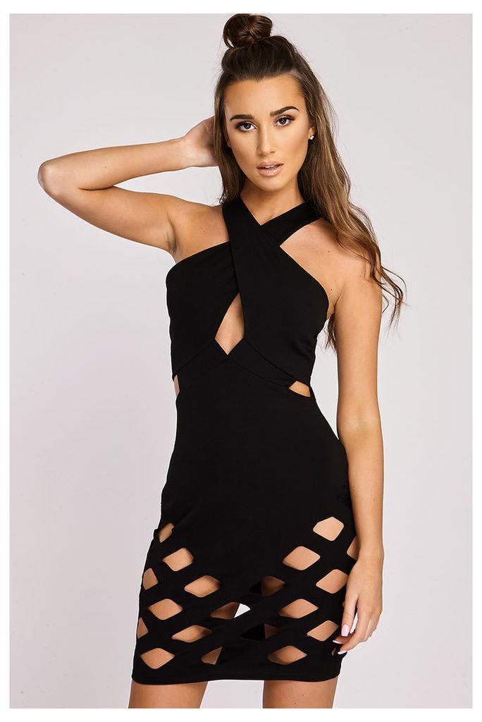 Black Dresses - Sukey Black Laser Cut Out Mini Dress