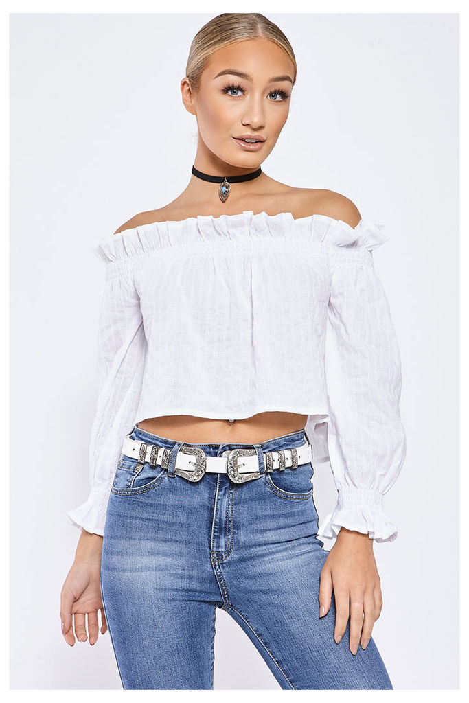 White Tops - Joley White Frill Long Sleeved Bardot Top