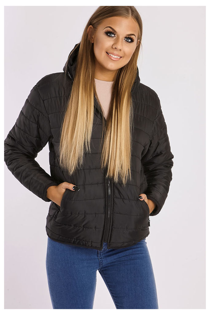Black Jackets - Tracey Black Quilted Hooded Jacket