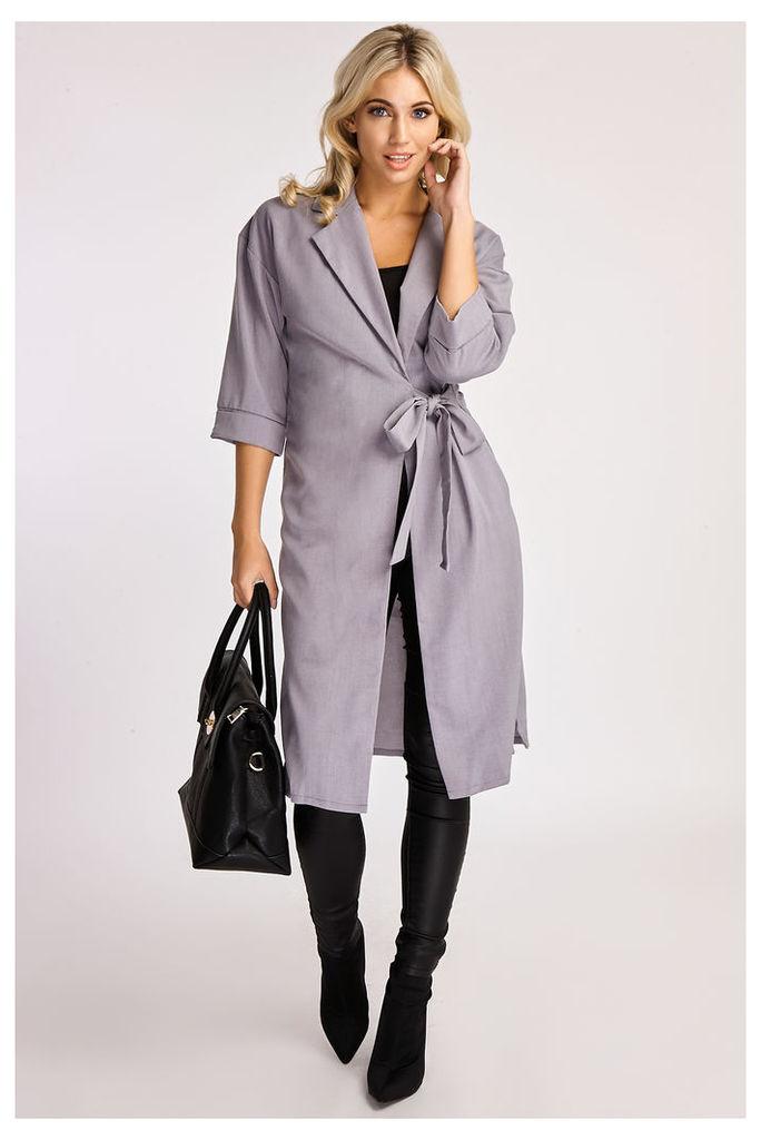 Grey Jackets - Amanda Grey Tie Side Duster Jacket