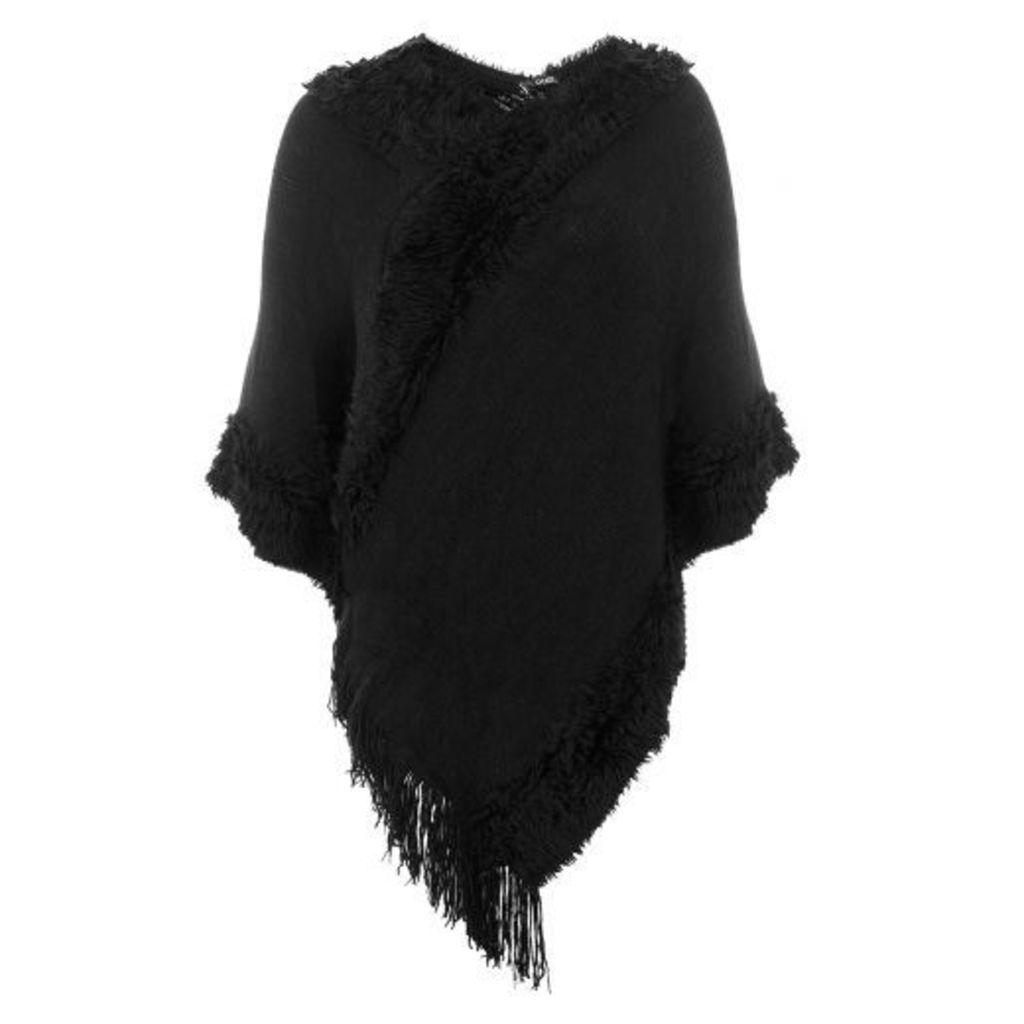 Black Faux Fur Trim Poncho