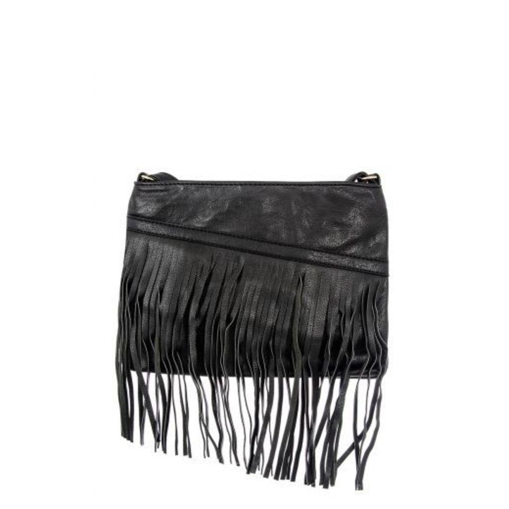Black PU Slant Zip Fringe Bag