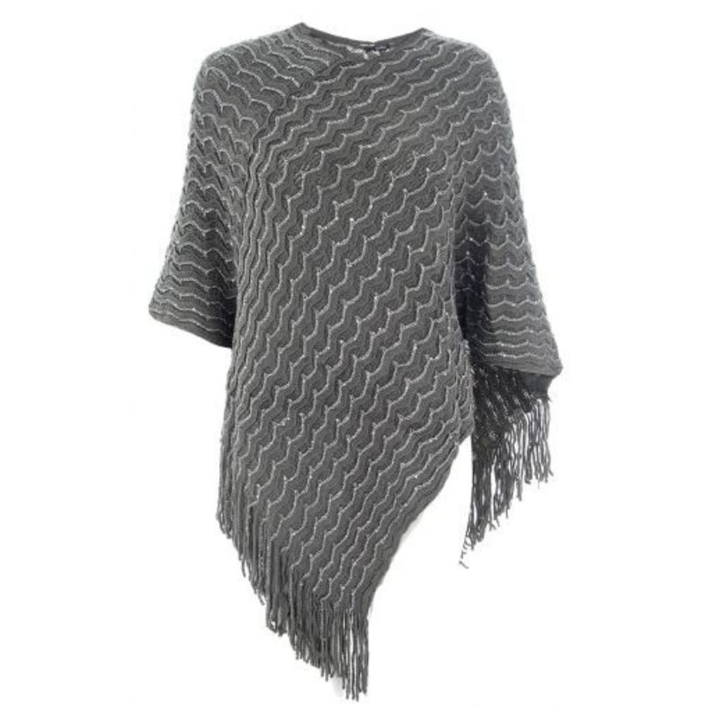 Grey Sequin Ribbed Poncho