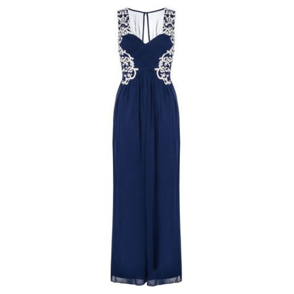 Navy Embroidered Crossover Maxi Dress