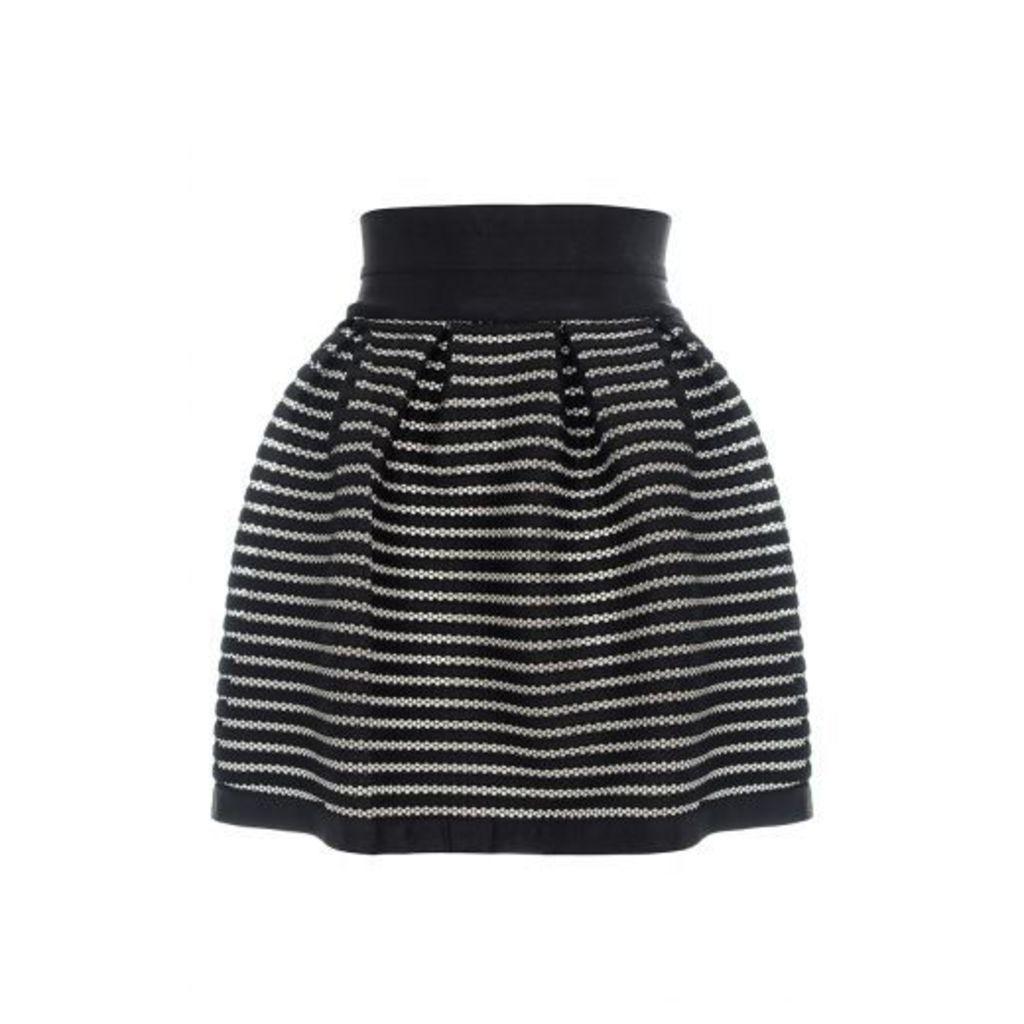 Black Ribbed Honeycomb Skirt