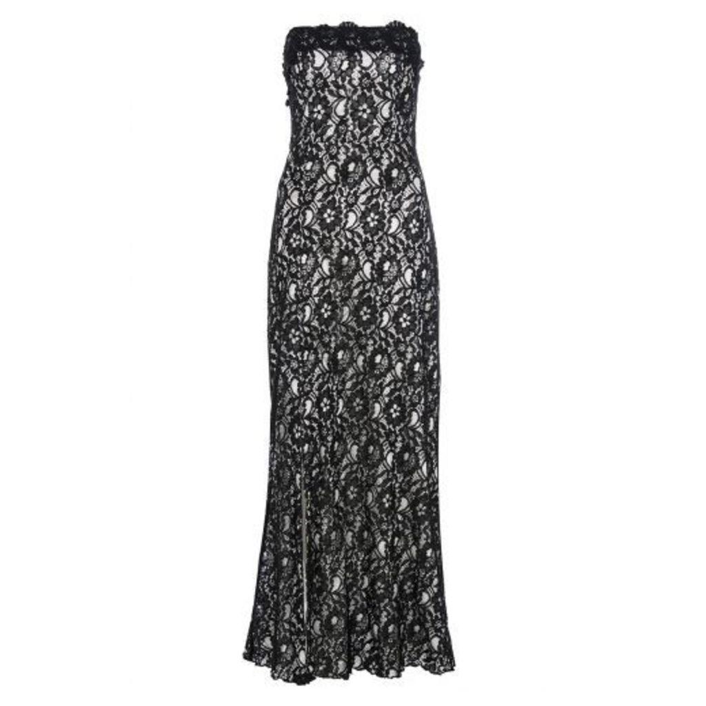 Black And White Lace Split Maxi Dress