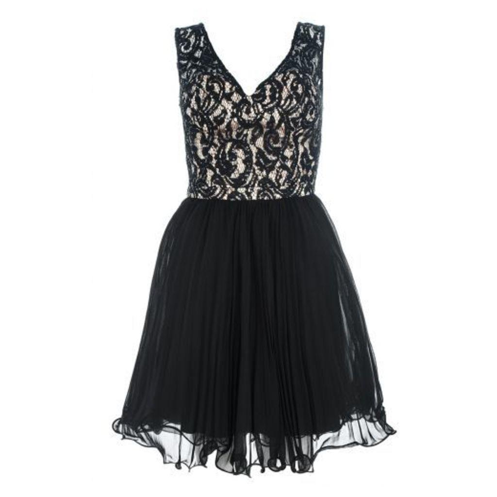 Black And Stone Lace Chiffon Prom Dress