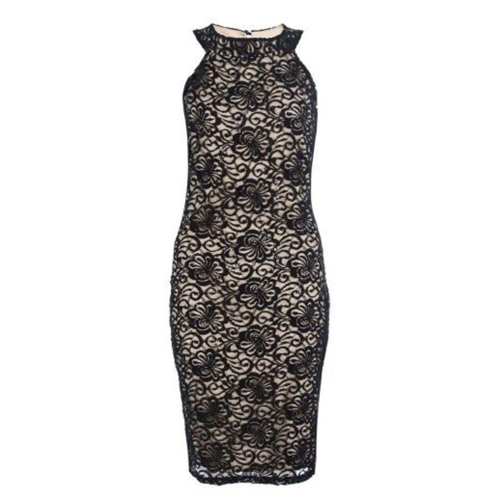 Black Lace Sequin Midi Dress