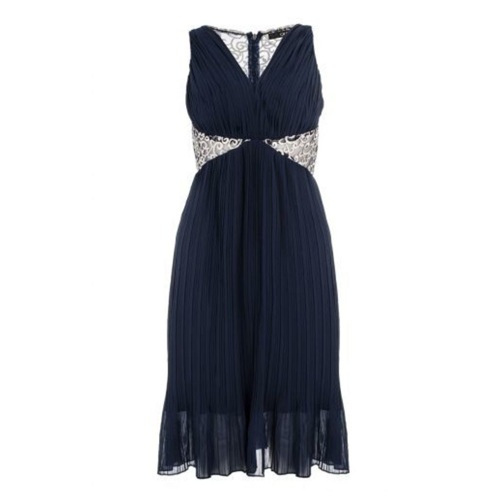 Navy Chiffon Embroidered Pleated Dress