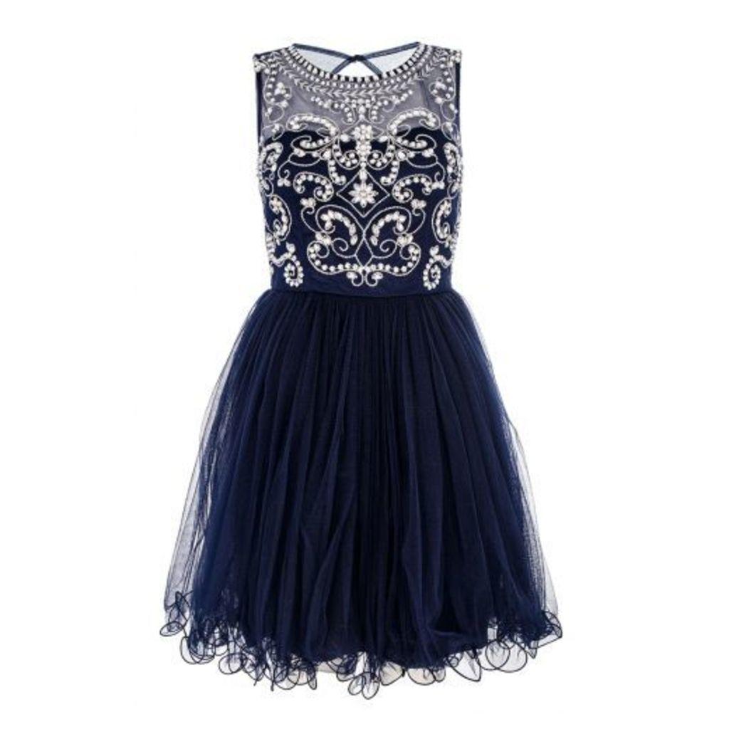Navy Mesh Diamante Prom Dress