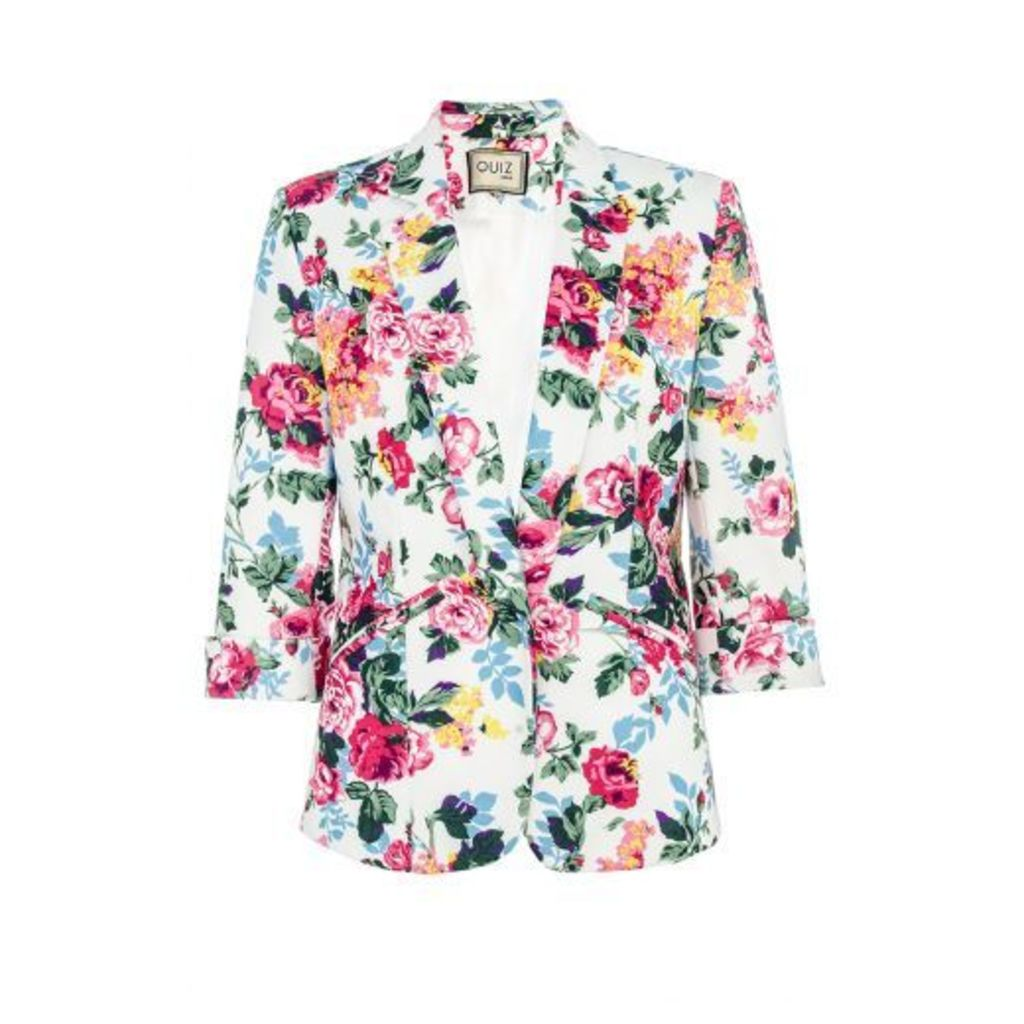 Ivory Floral 3/4 Sleeve Jacket