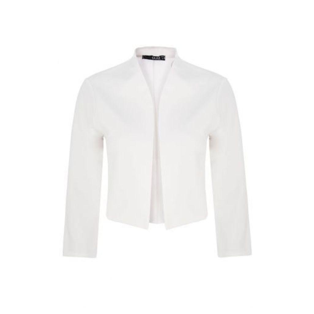 Cream 3/4 Sleeve Crop Jacket