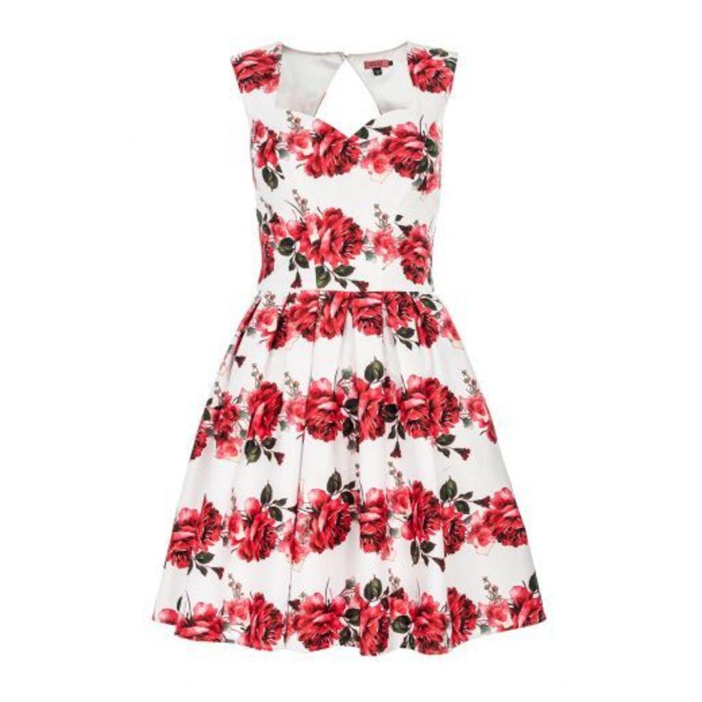 White Satin Rose Print Prom Dress