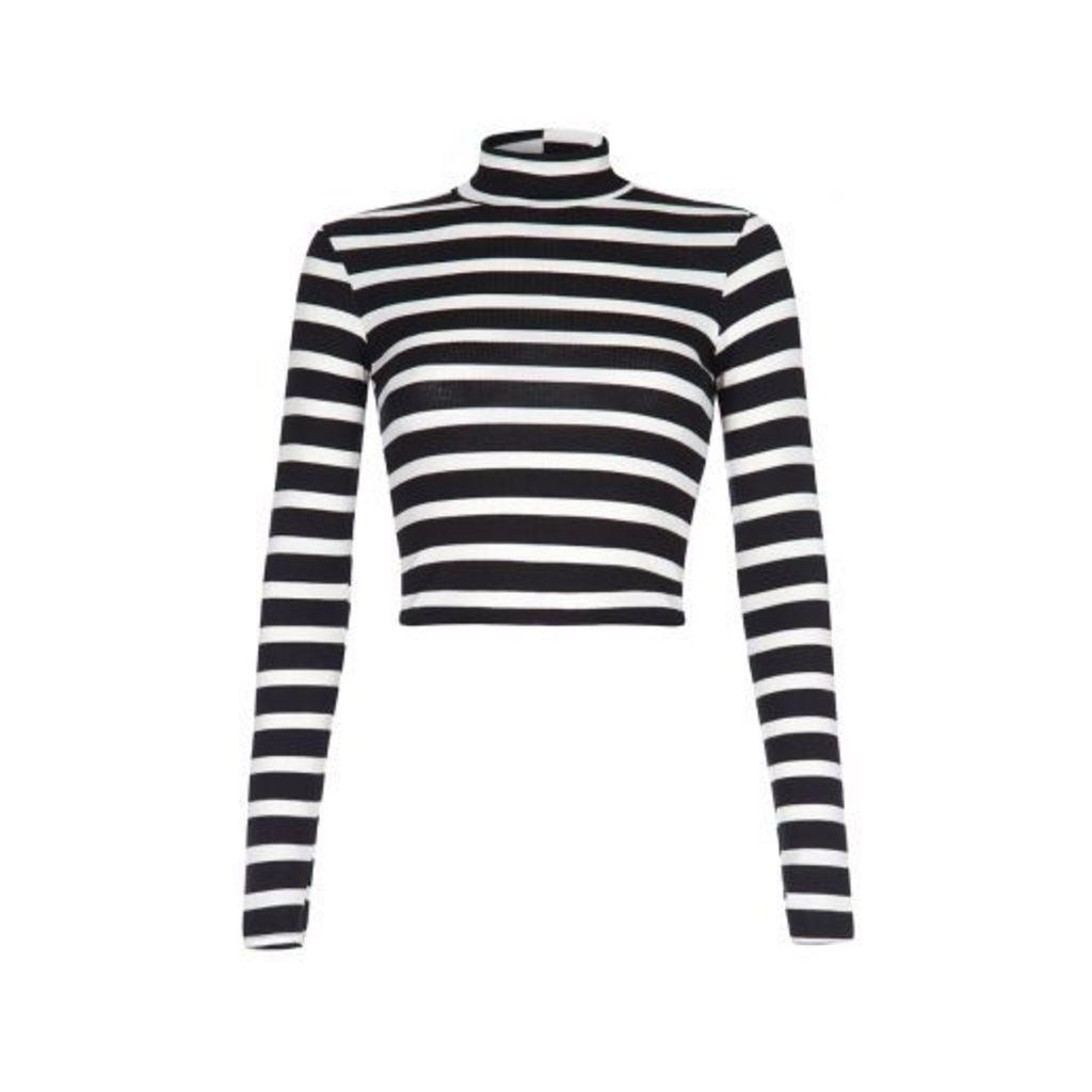 Black Stripe Long Sleeve Knit Crop Top