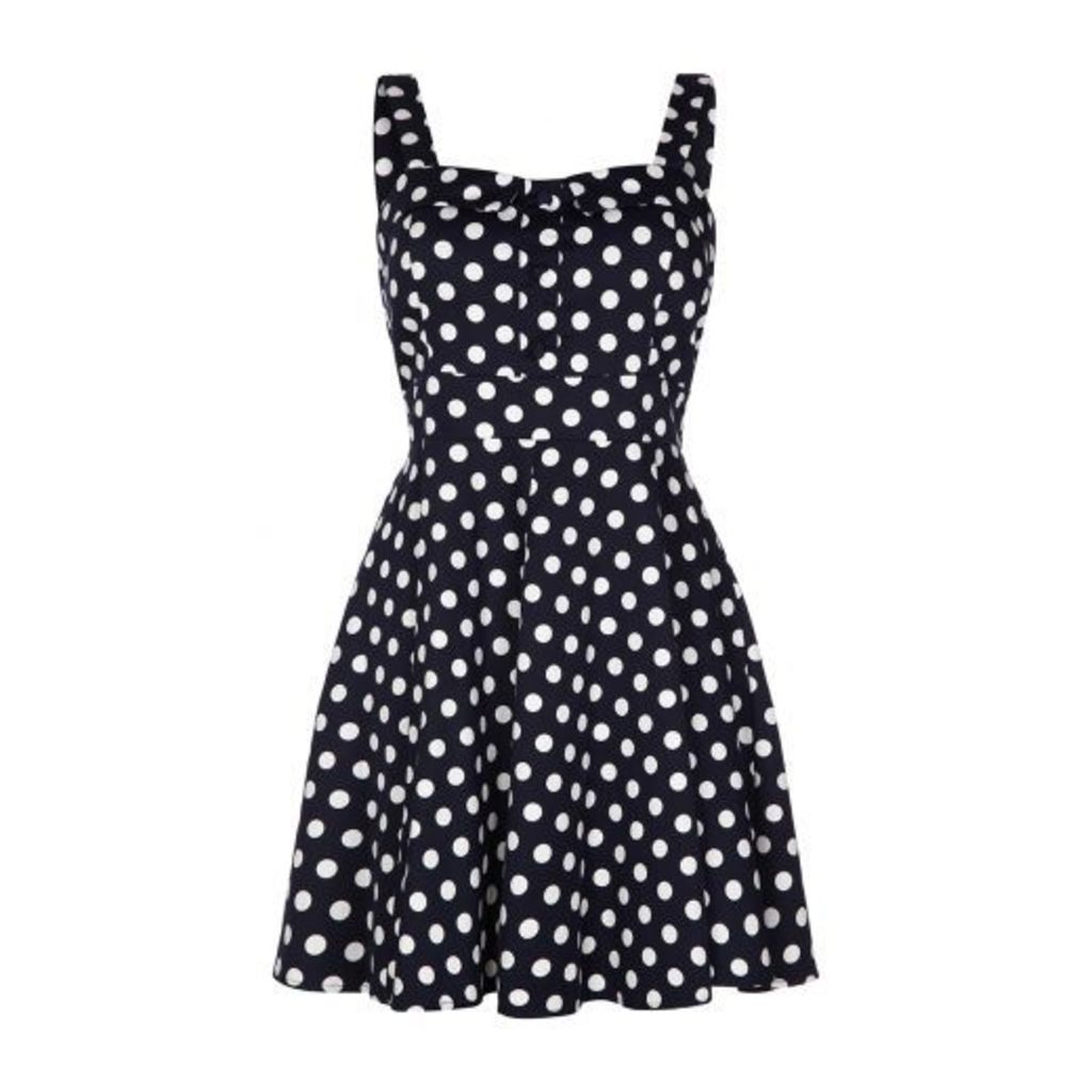 Navy Polka Dot Strap Skater Dress