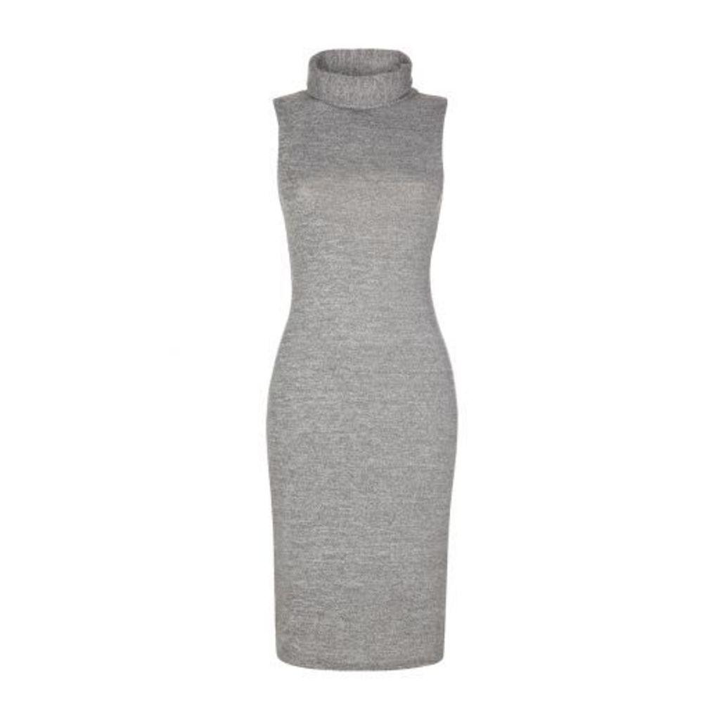 Grey Roll Neck Midi Dress