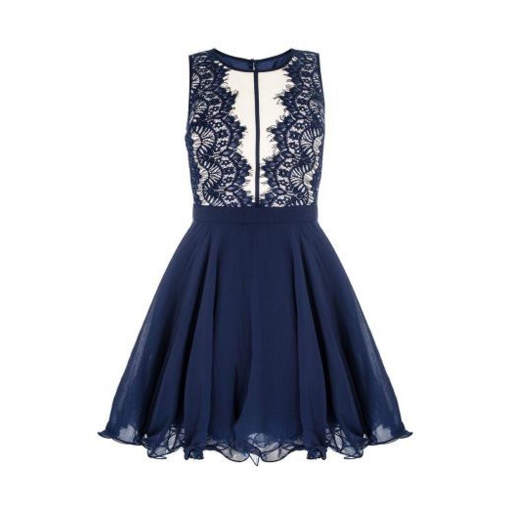 Navy Chiffon Lace Panel Prom Dress