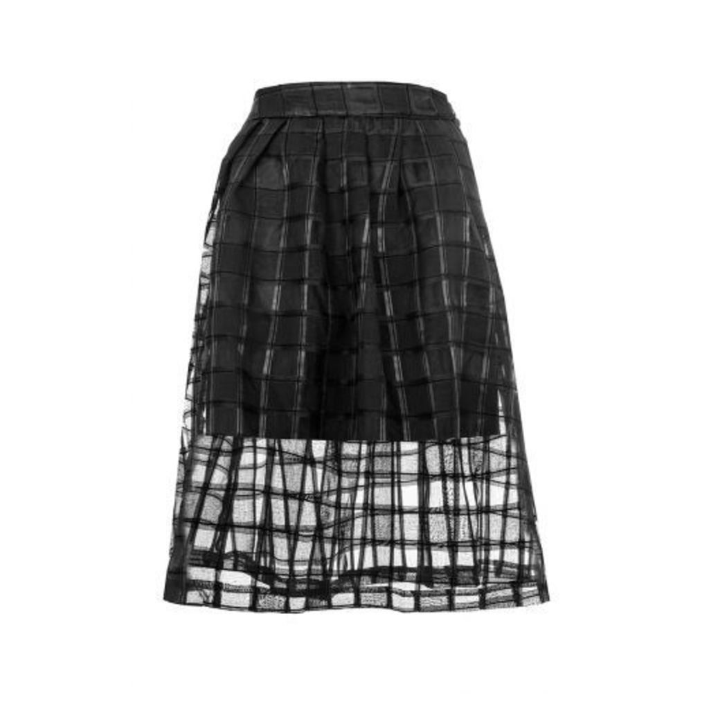Black Mesh Check Skater Skirt