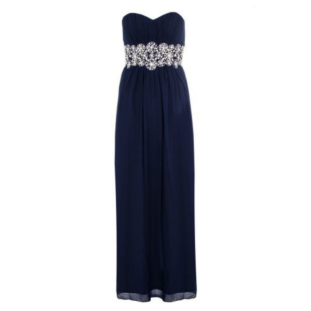 Navy Bandeau Embellished Maxi Dress