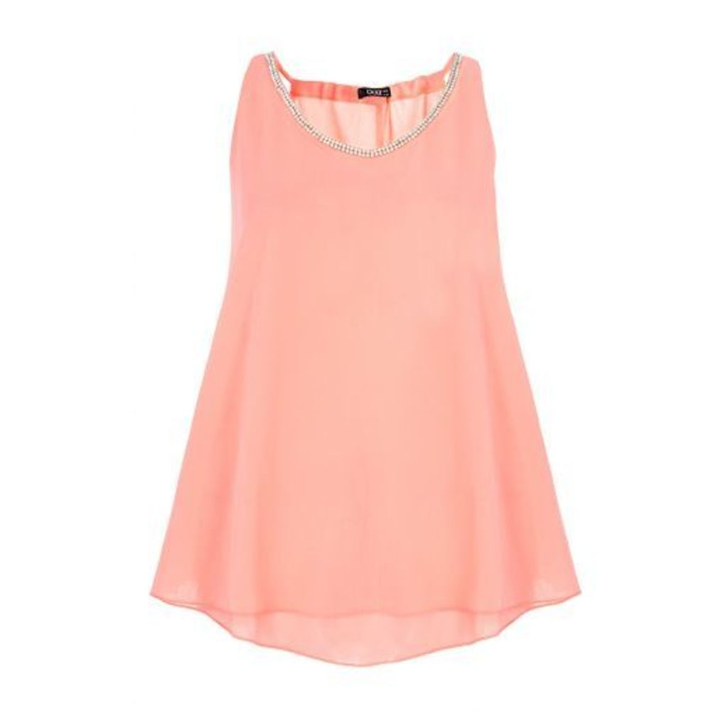 Coral Chiffon Double Layer Embellished Top