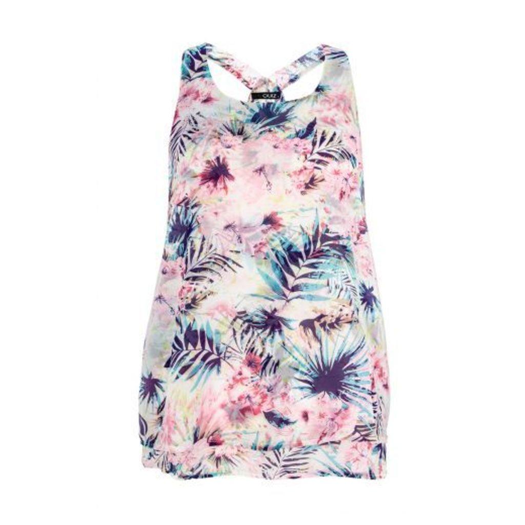 Pink Chiffon Tropical Print Vest Top