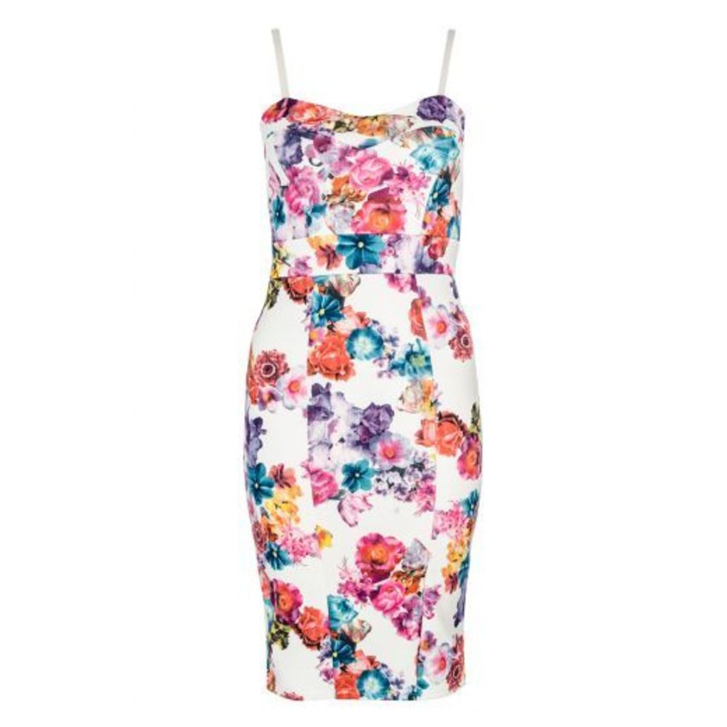 White Floral Print Strap Bodycon Dress