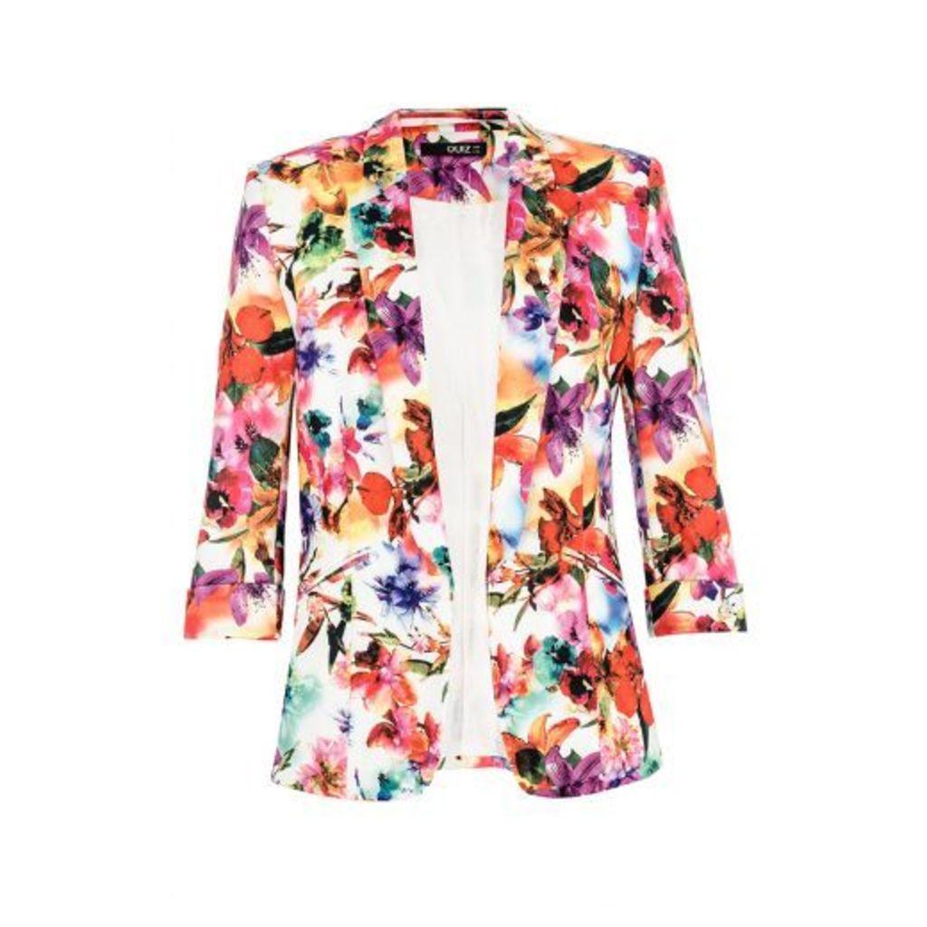 Multi Colour Flower 3/4 Sleeve Jacket