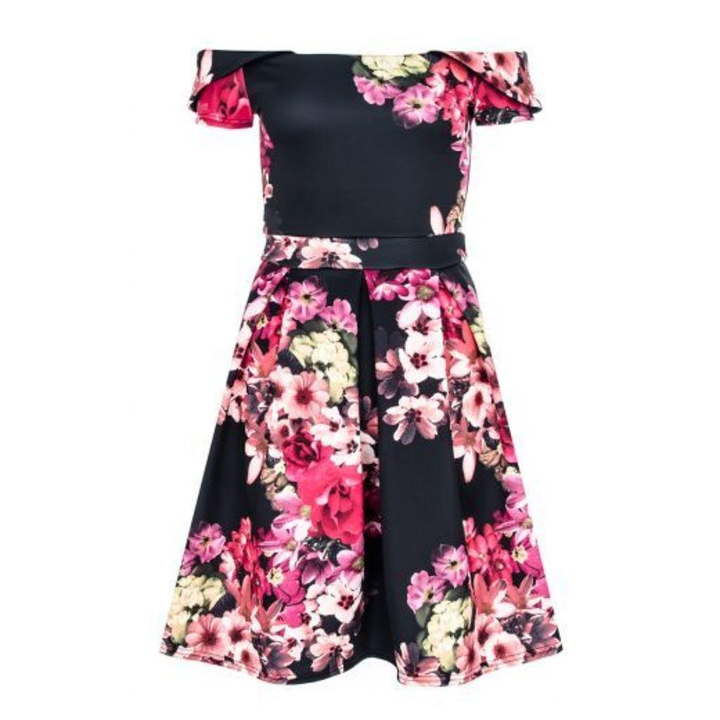 Black Floral Marcella Pleat Dress