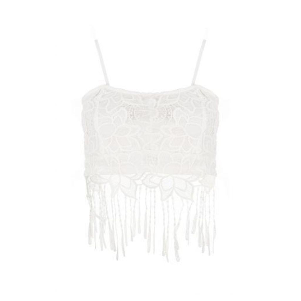 White Lace Fringe Crop Fringe Top