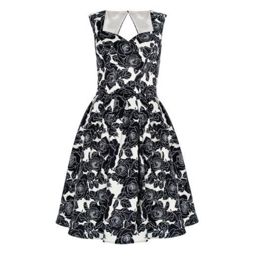Black Rose Satin Pleat Dress