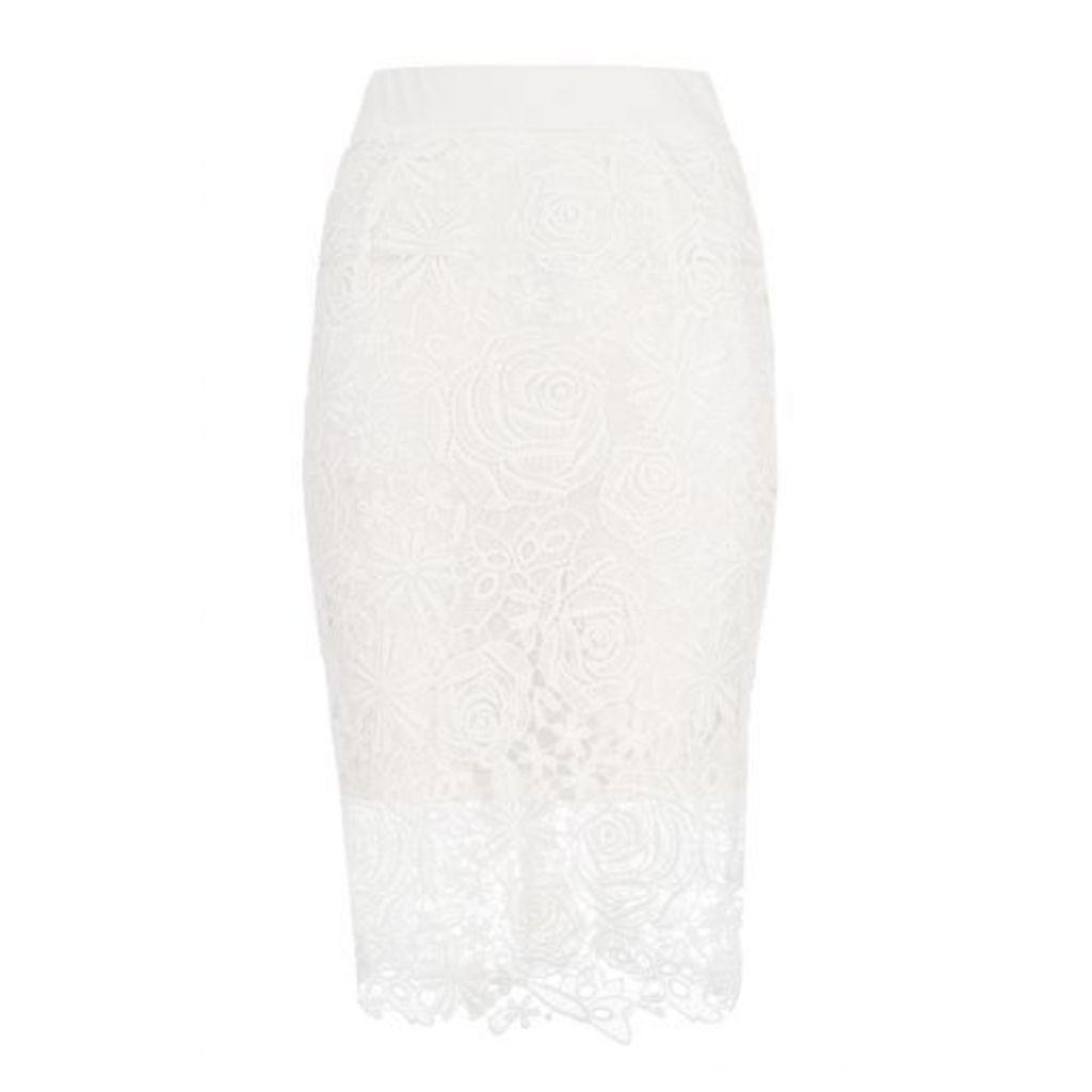 White Lace Zip Back Midi Skirt