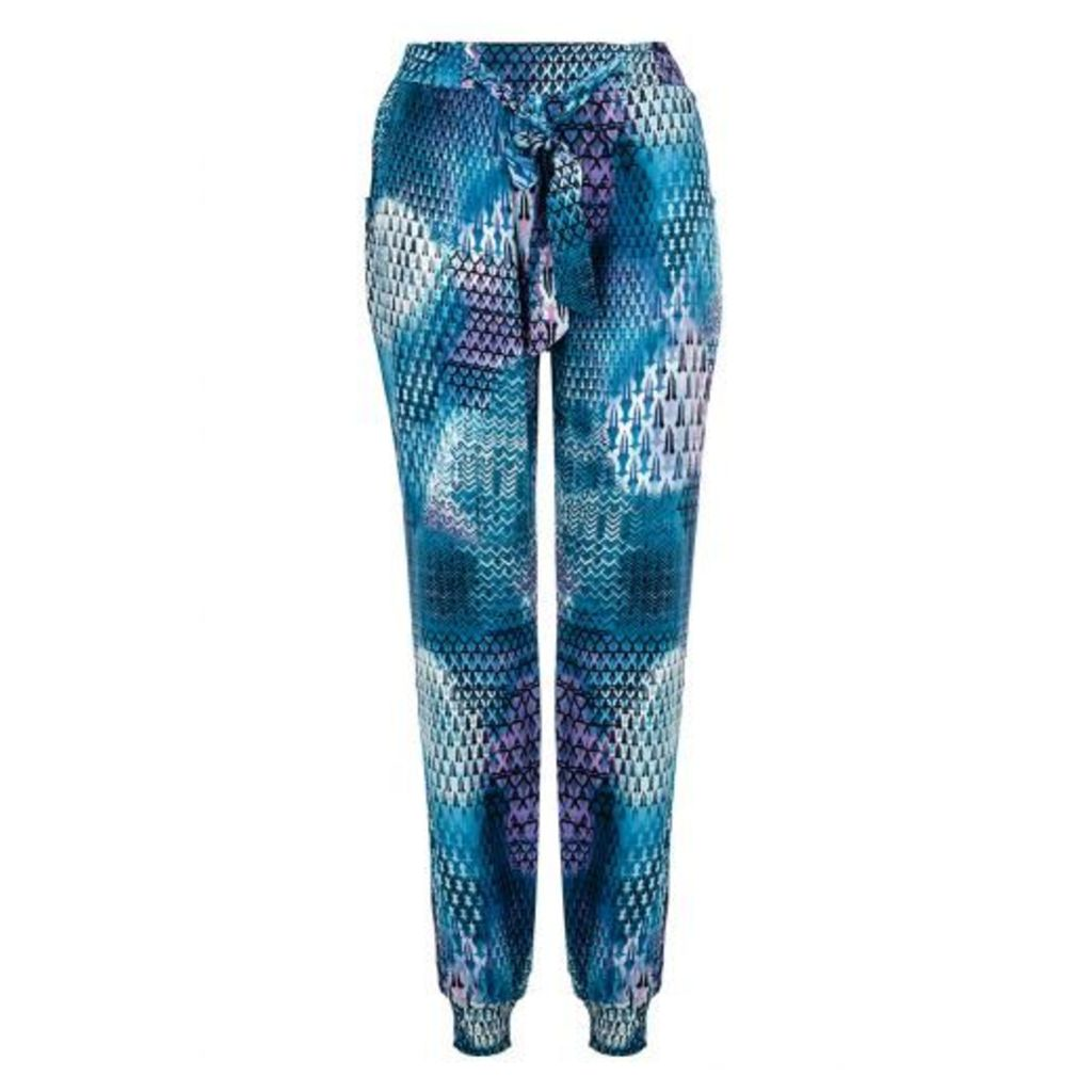 Blue Abstract Print Harem Trousers