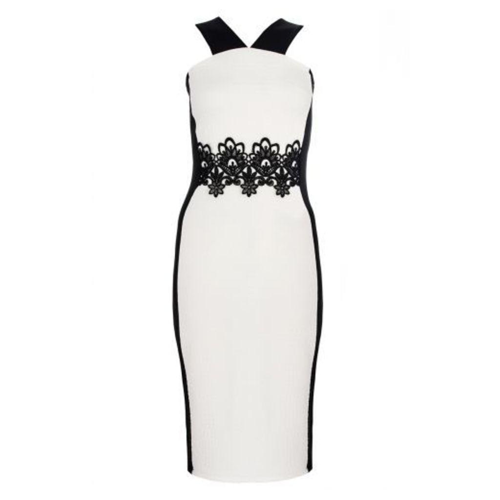 Cream Lace Trim Panel Midi Dress