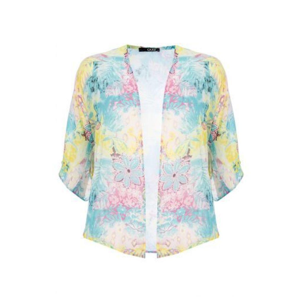 Blue Tropical Print Chiffon Kimono