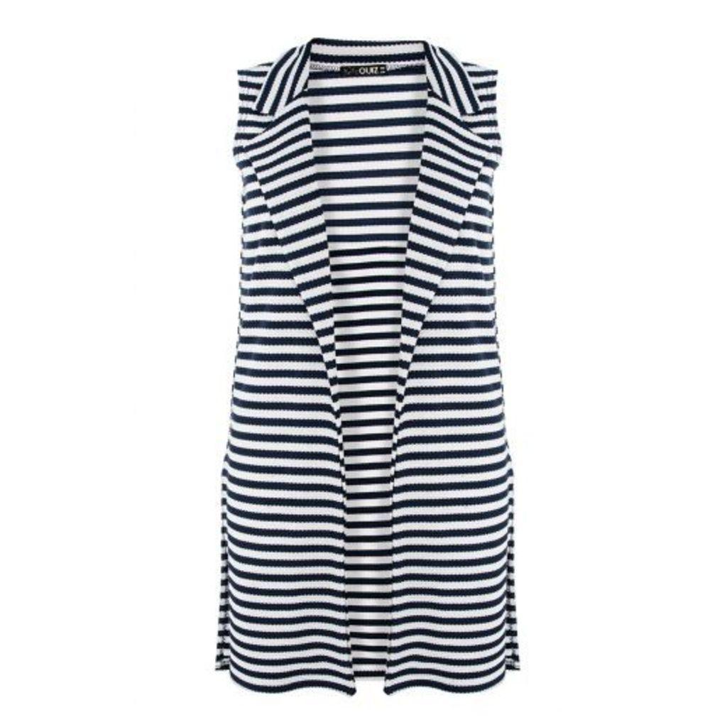 Navy Stripe Split Side Sleeveless Blazer