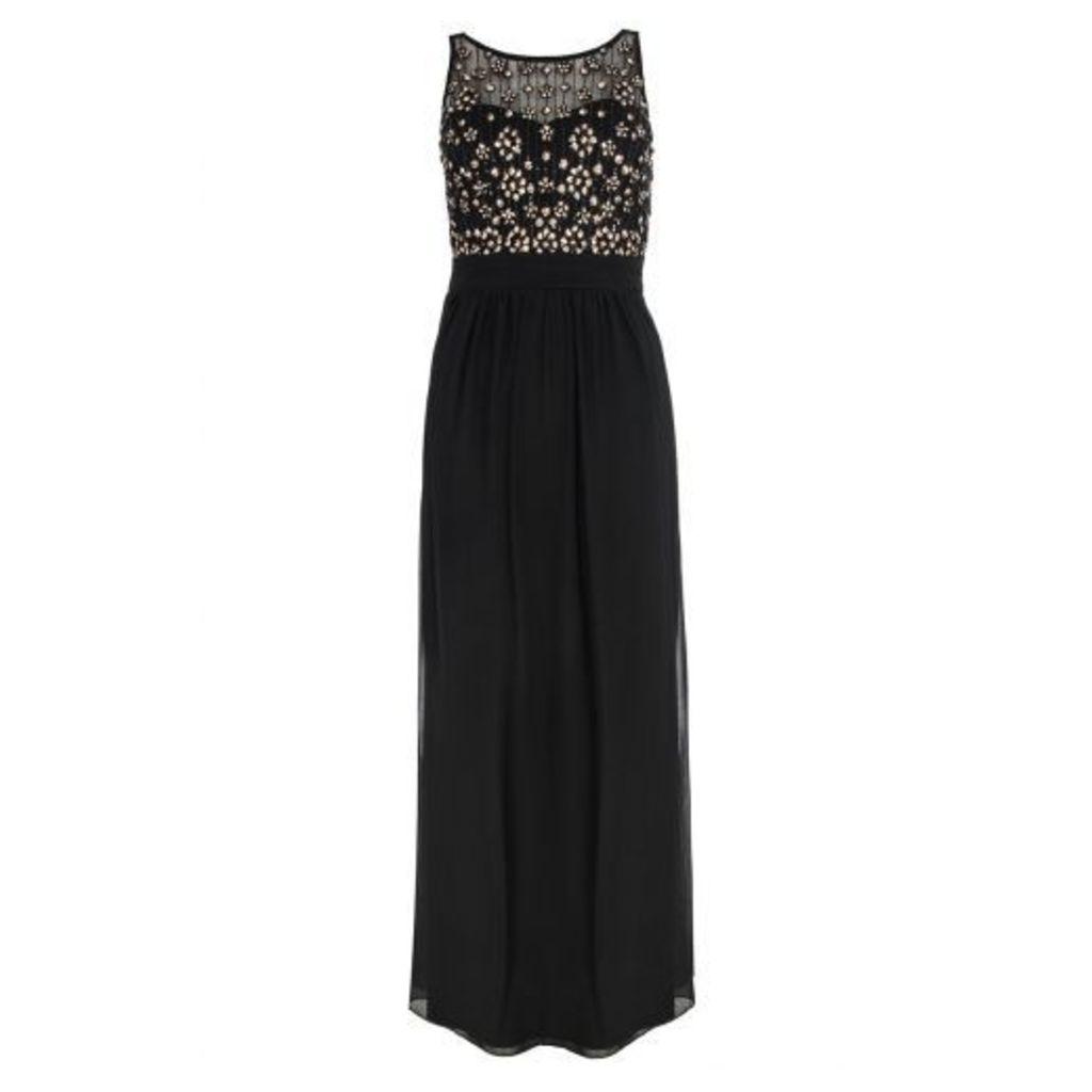 Black Sequin Cluster Maxi Dress