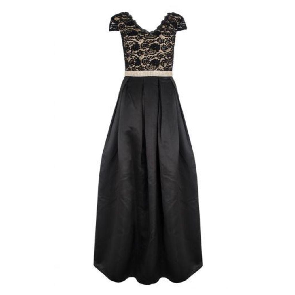 Black Lace Cap Sleeve Full Maxi Dress