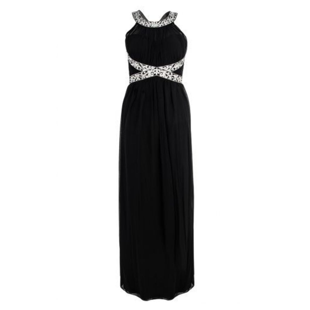 Black Embroidered Open Back Strap Maxi Dress