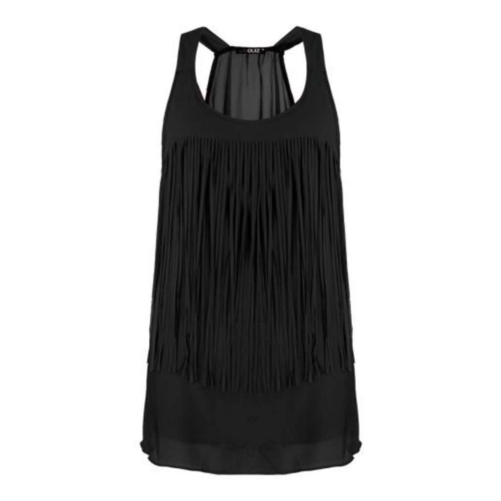 Black Fringe Front Top