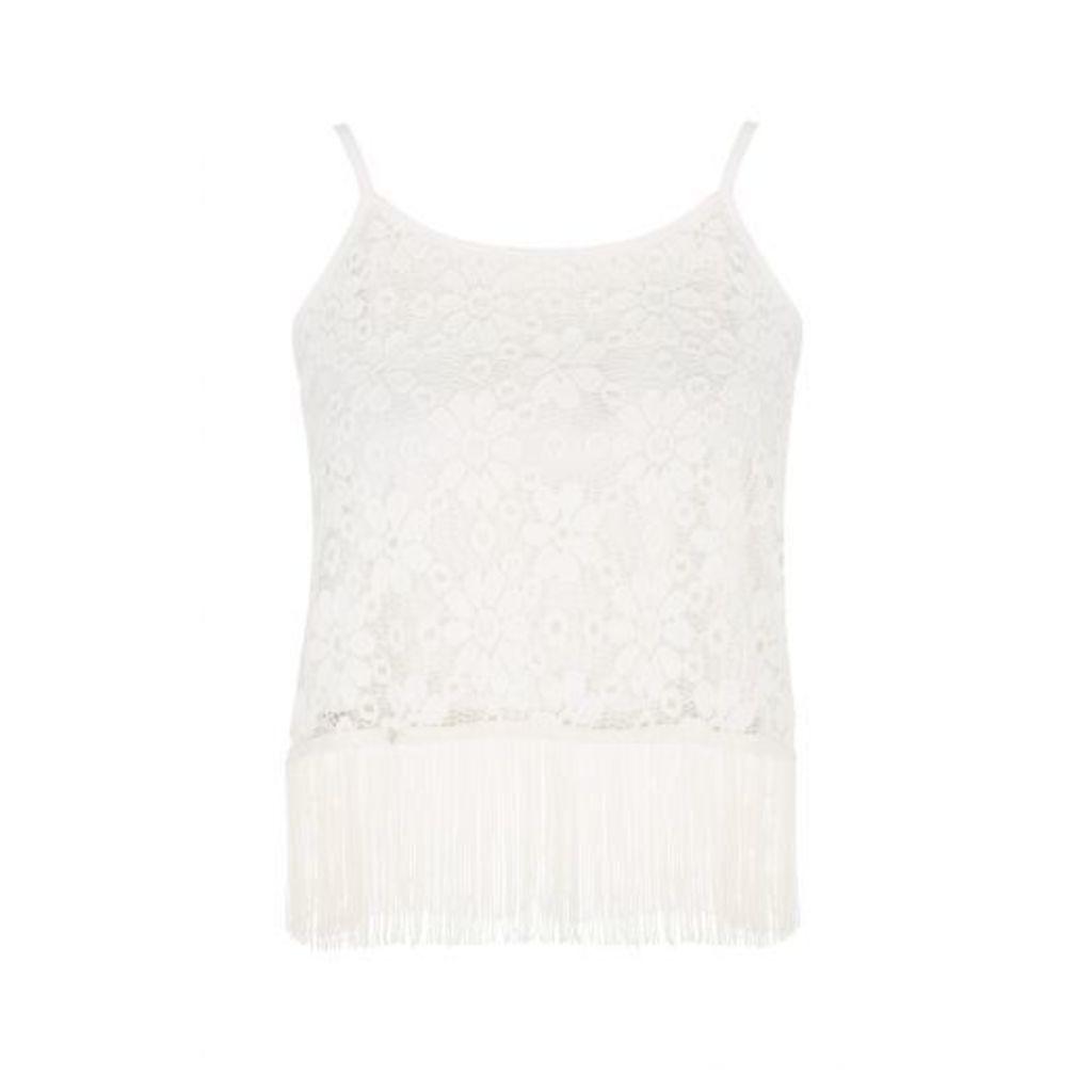 Cream Lace Fringe Strap Vest Top