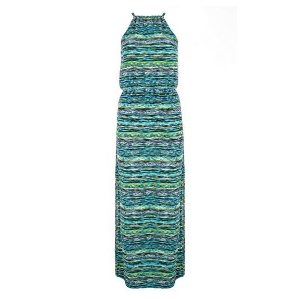 Blue Crepe Stripe Maxi Dress