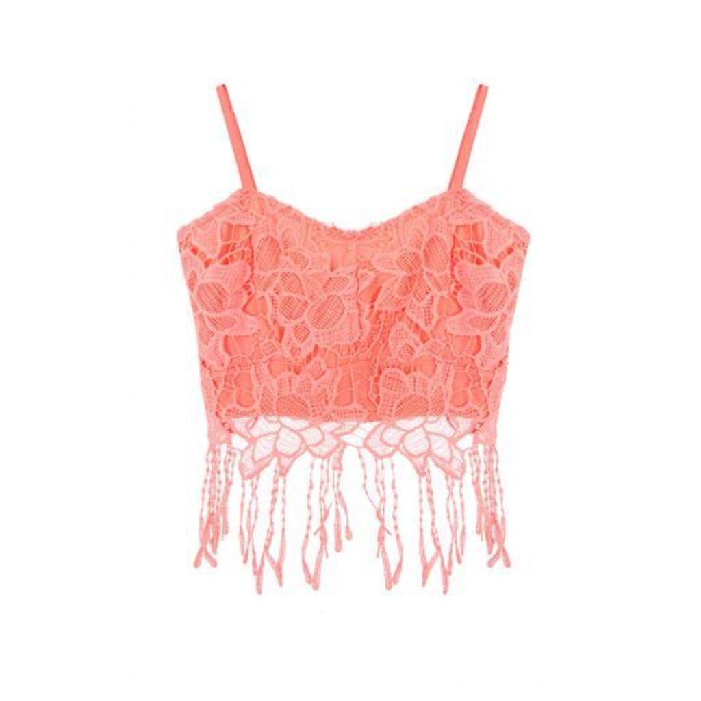 Coral Lace Fringe Crop Top