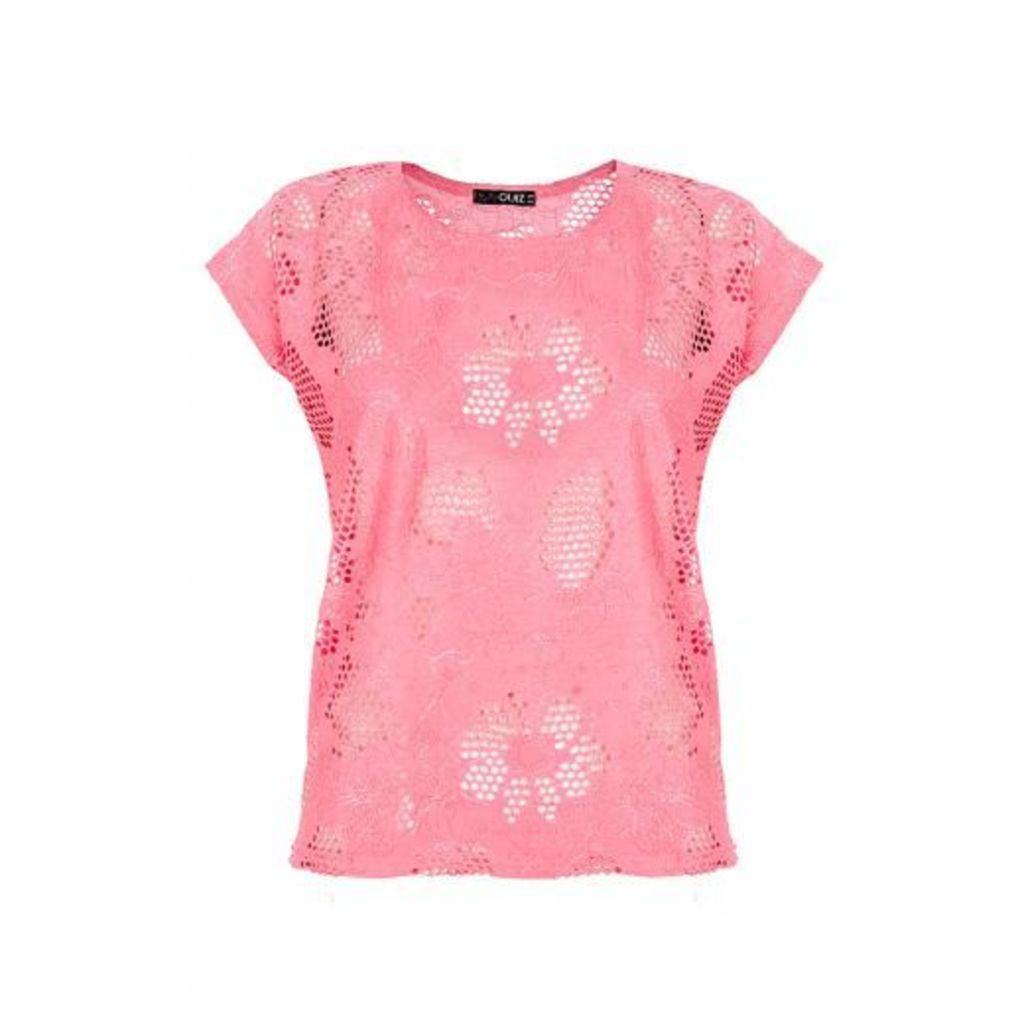 Bright Pink Lace Top