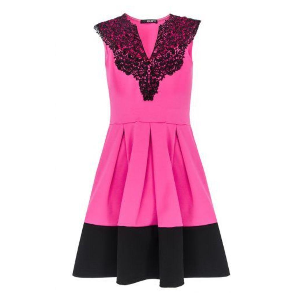 Bright Pink Lace Neck Trim Skater Dress
