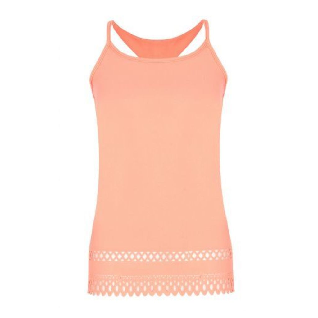 Coral Crepe Lazer Cut Swing Top