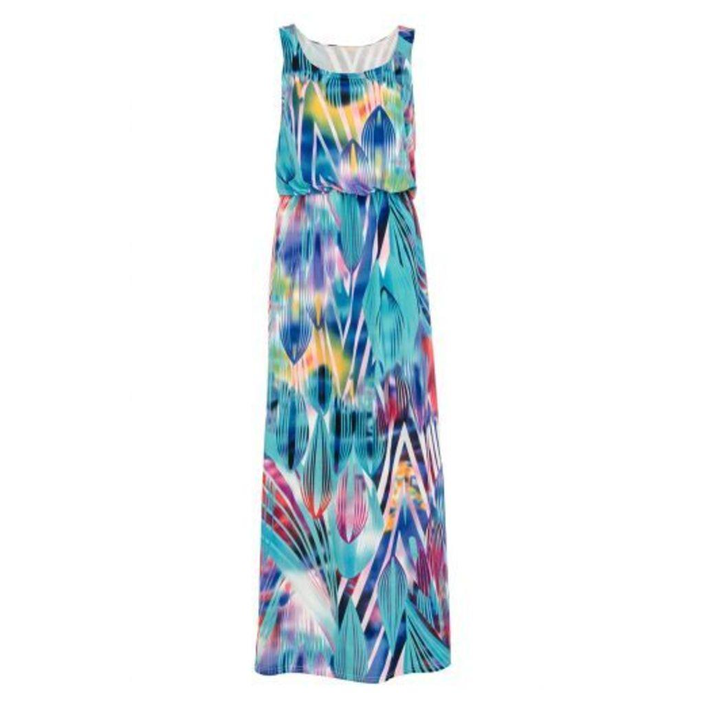 Aqua Print Bubble Top Maxi Dress