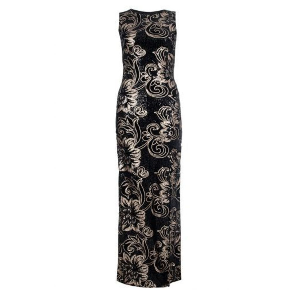 Black Velvet Sequin Maxi Dress