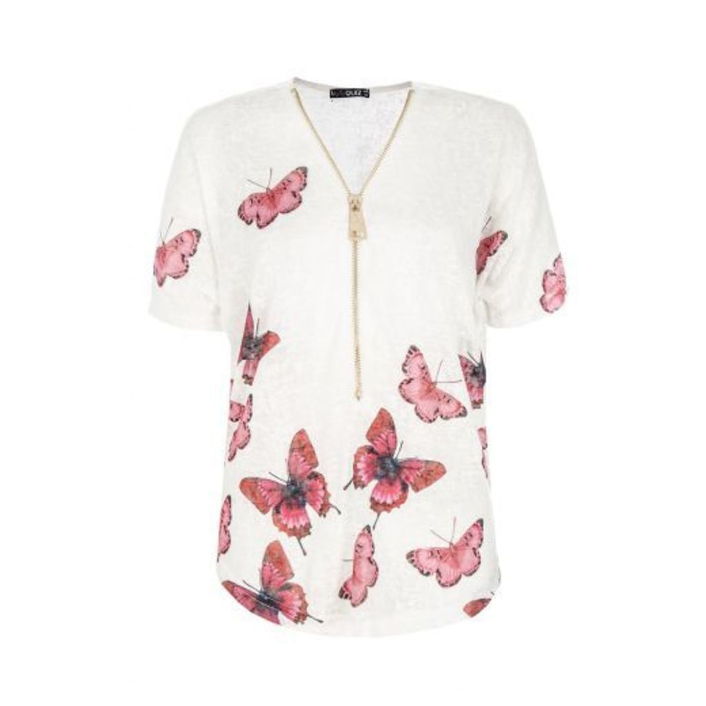 White Butterfly Print Zip Front Top