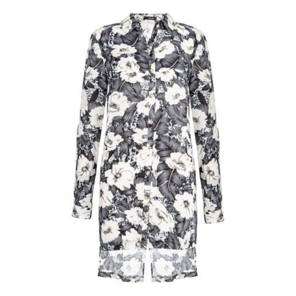 Grey Floral Cross Back Blouse