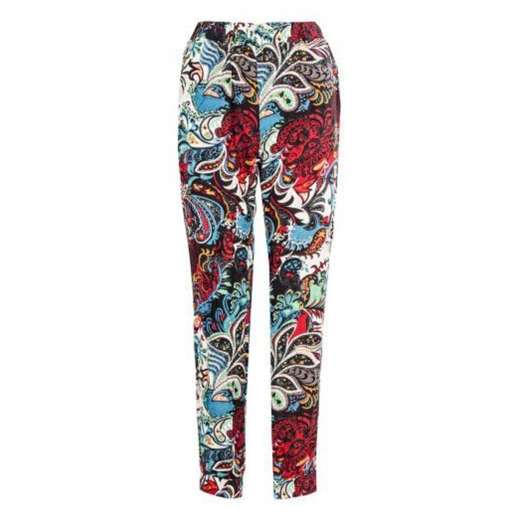 Black Paisley Print Cuff Trousers